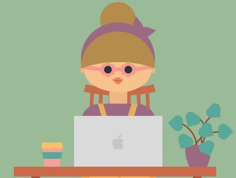 Graphic: A woman sits in front of a laptop, between a coffee and a plant.