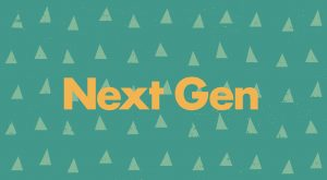 """Text graphic reads """"Next Gen"""" in yellow on a green background with a pattern of triangles."""